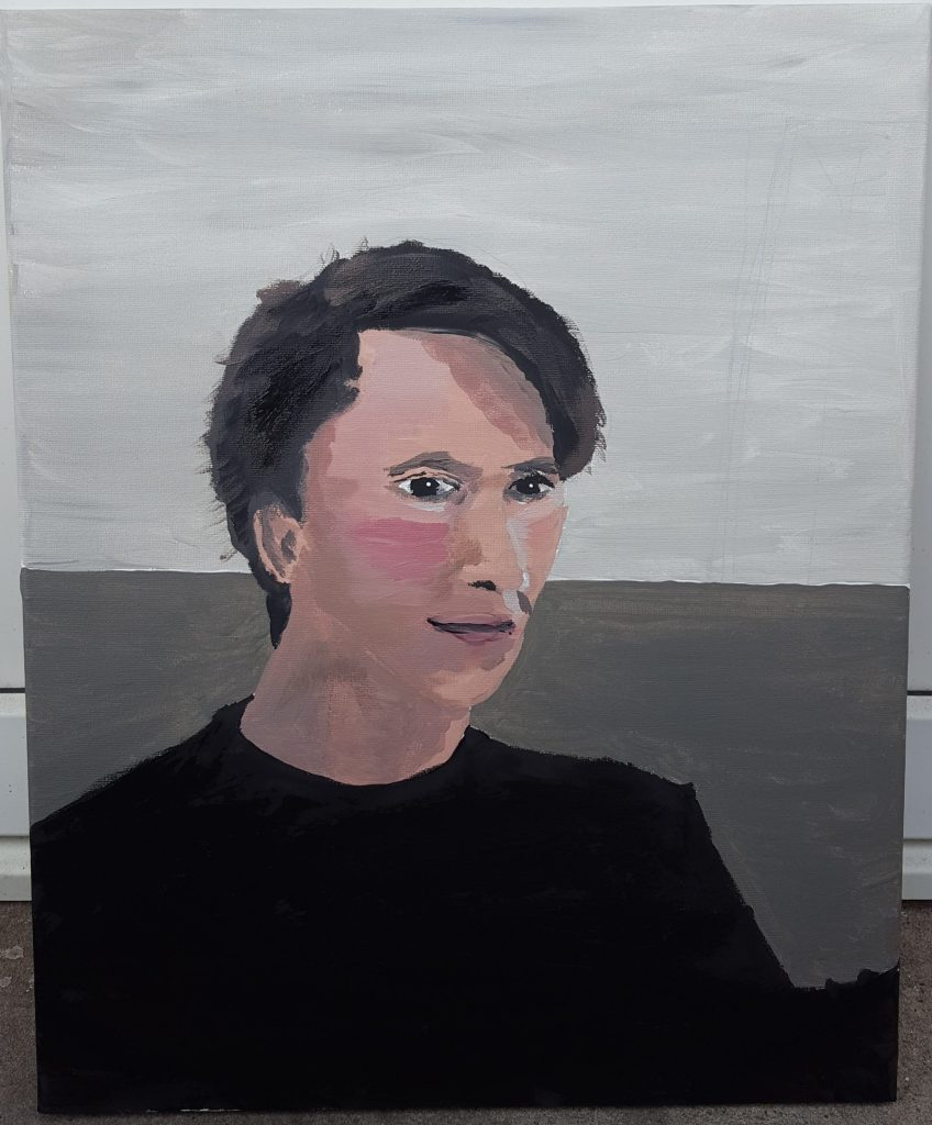 Selfportrait in acrilic paint